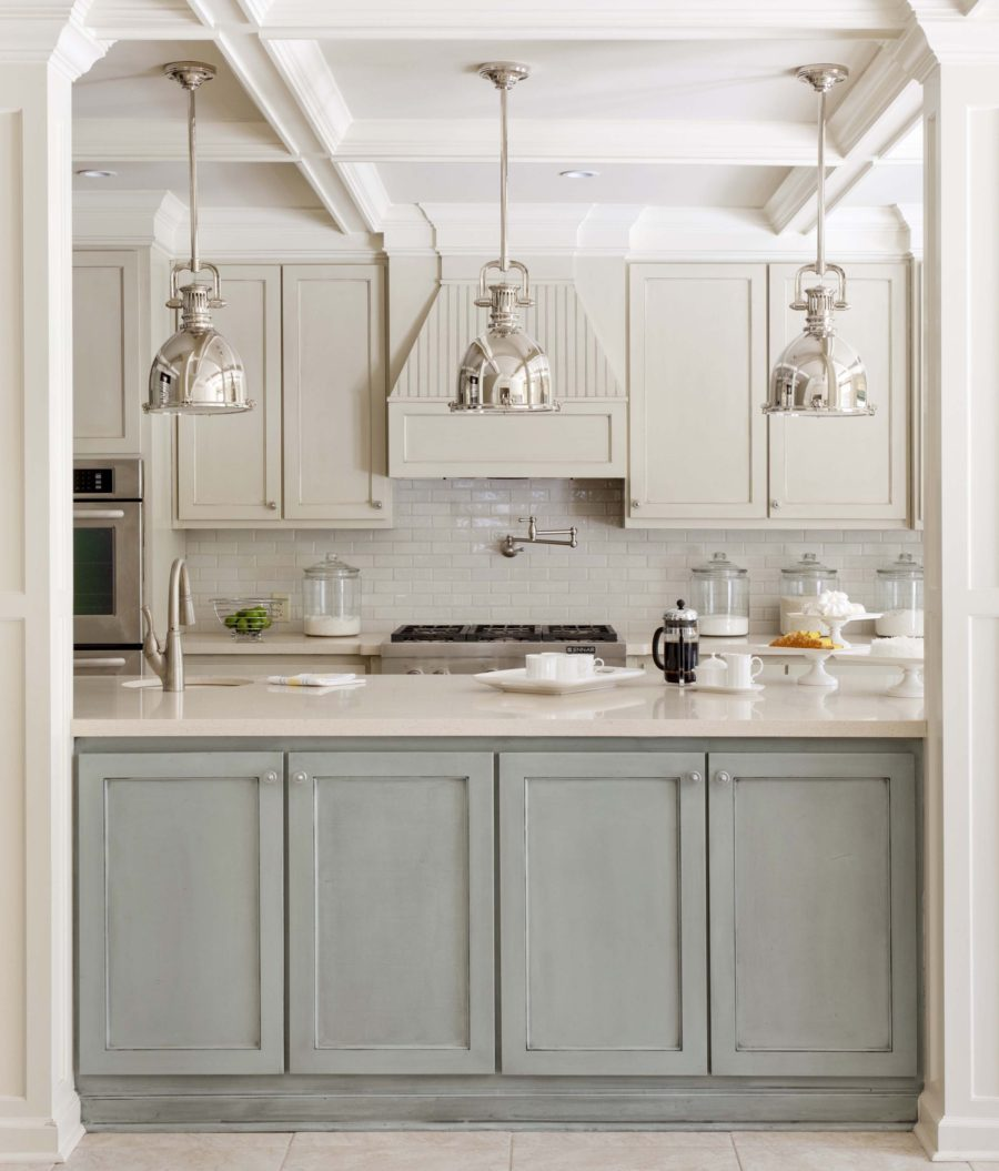 TwoTone Kitchen Cabinets To Reinspire Your Favorite Spot In The - Gray kitchen cabinets with marble countertops