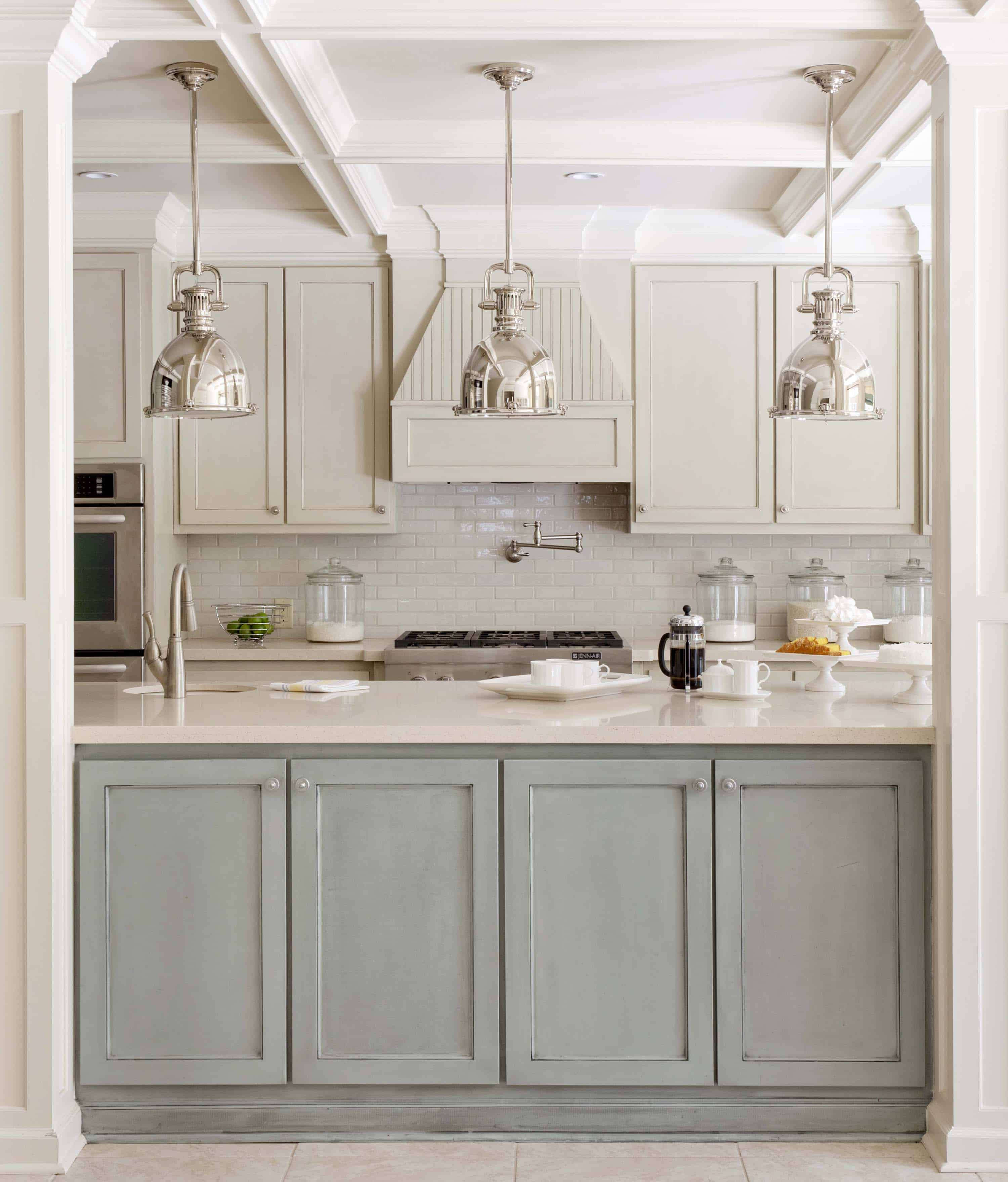 kitchen-furniture-great-two-tone-kitchen-furnishing-decors-with-gray-kitchen-cabinets-with-white-marble-top-as-well-as-chrome-funnel-kitchen-ceiling-lamp-in-contemporary-kitchen-designs-calmly-gray-k-