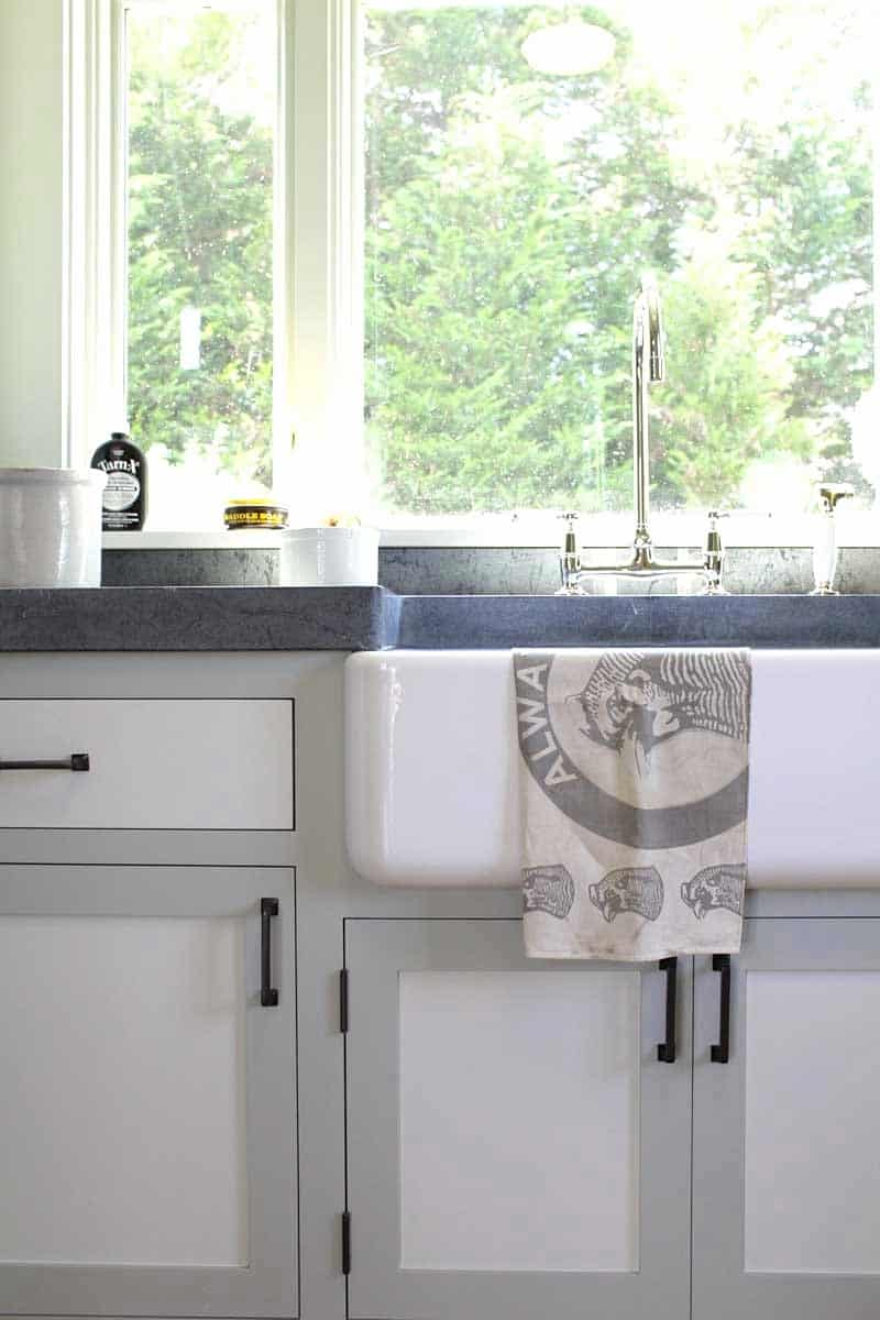 kitchen sink farm house style two toned cabinets gray white cococozy dan scotti design