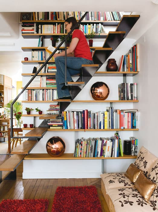Wooden Floating Staircase Bookshelf