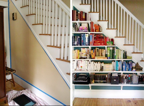 View In Gallery DIY Stairwell Bookshelf