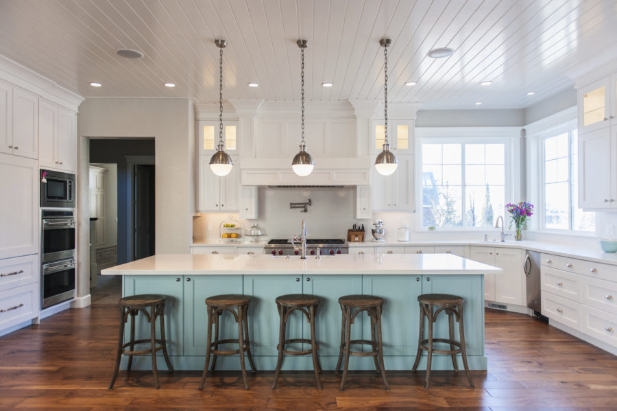 two-tone-kitchen-cabinet-and-painted-wood-floors-with-barstools-also-pendant-lighting-and-windows-with-beadboard-ceilings-plus-painting-hardwood-floors-and-benjamin-moore-floor-paint