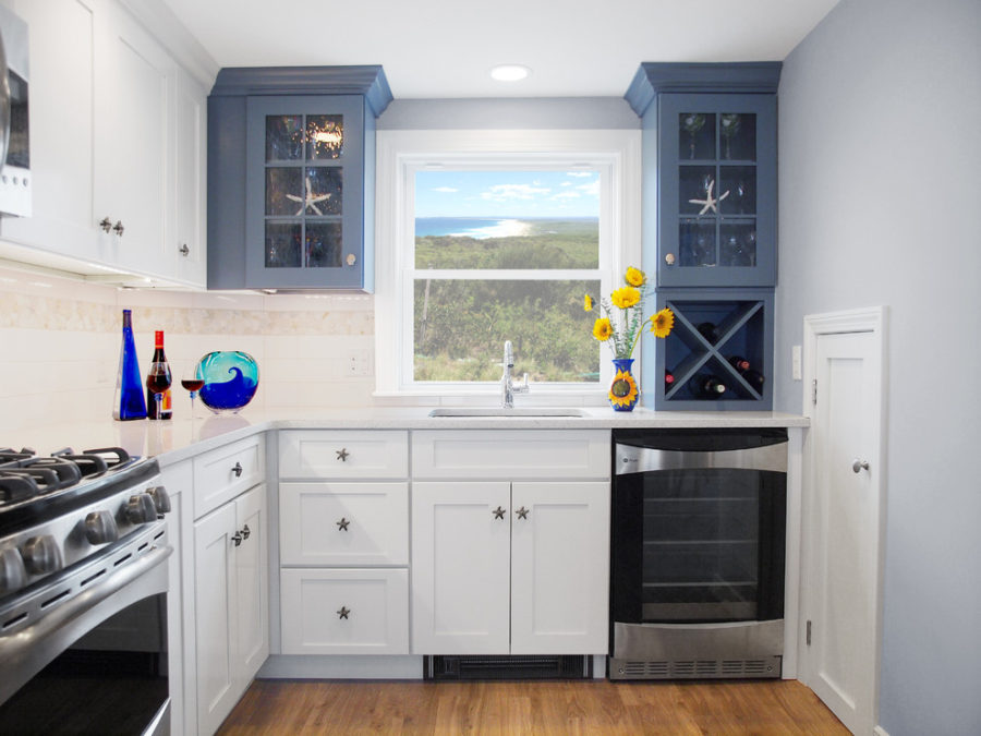 View In Gallery Two Tone Kitchen Cabinets Blue Beach Style