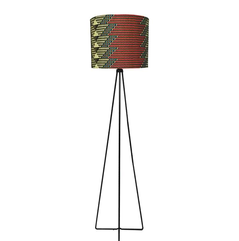 African Print Drum Lamp Ensemble