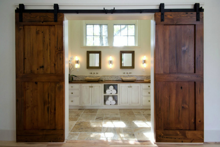 Barn doors in a modern bathroom