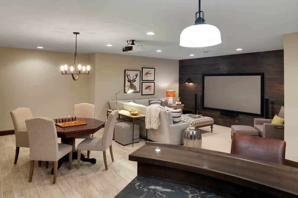 Basement TV room by Design by Grace Hill