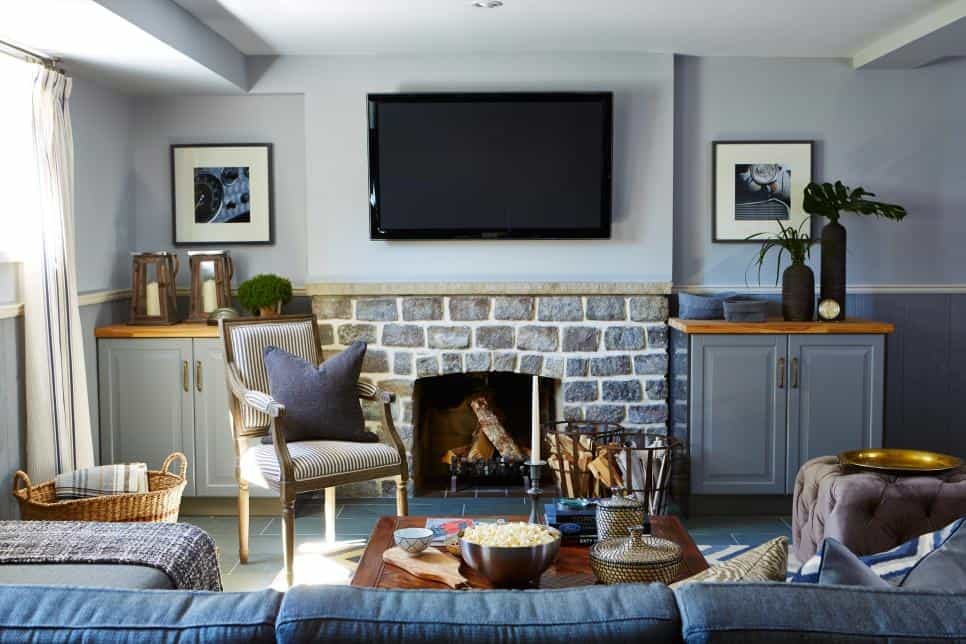 Basement family room by Sarah Richardson