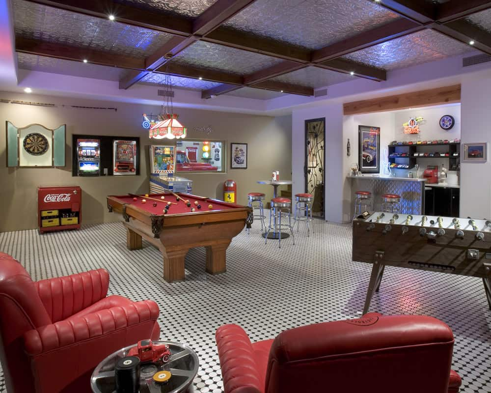 Basement game room by Shiloh Home Builders