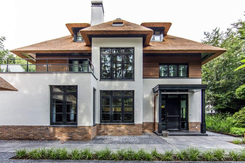 Beautiful facade shows a mix of modernity and tradition