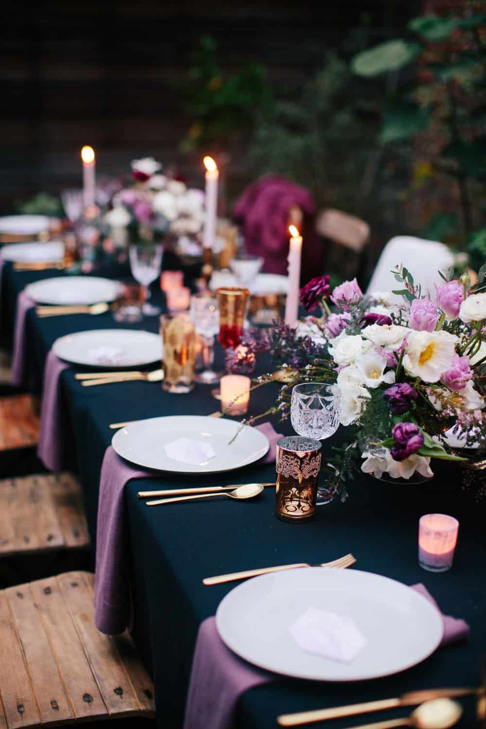 Blue and purple table setting