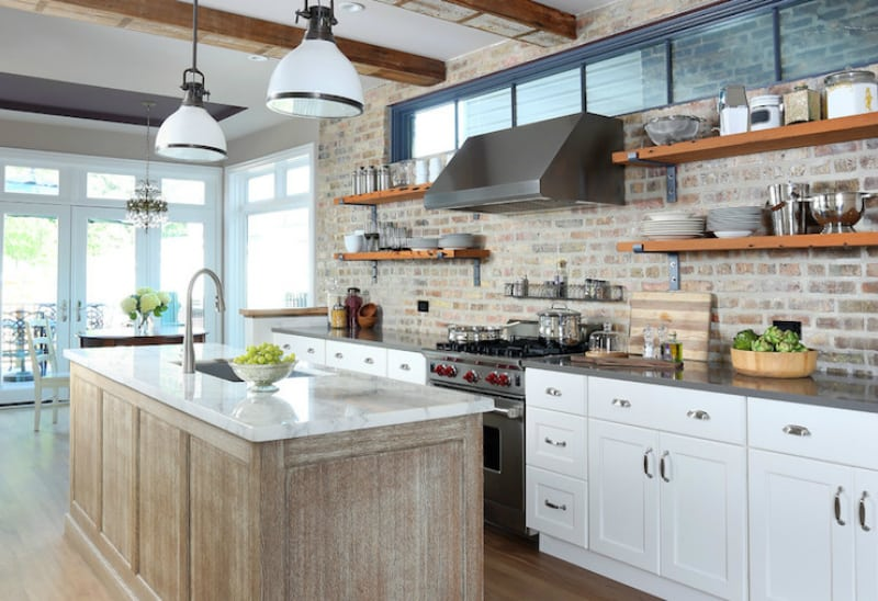 Brick kitchen backsplash by Normandy Remodeling