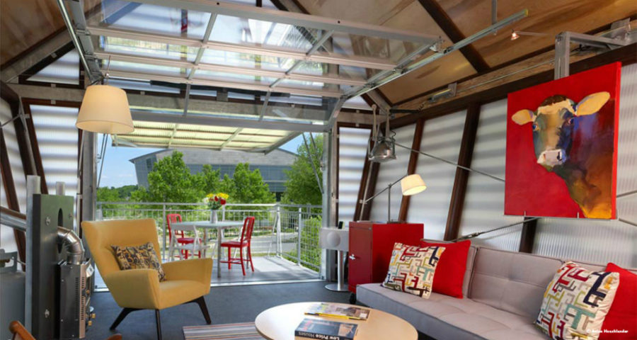 View in gallery Broadhurst Architects living room and terrace 900x480 Would  You Live in a Little House?