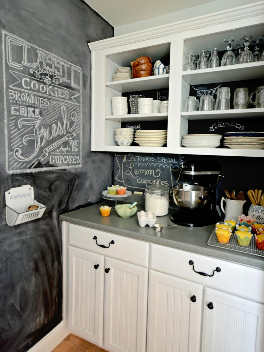 Chalkboard kitchen backsplash by Marian Parsons