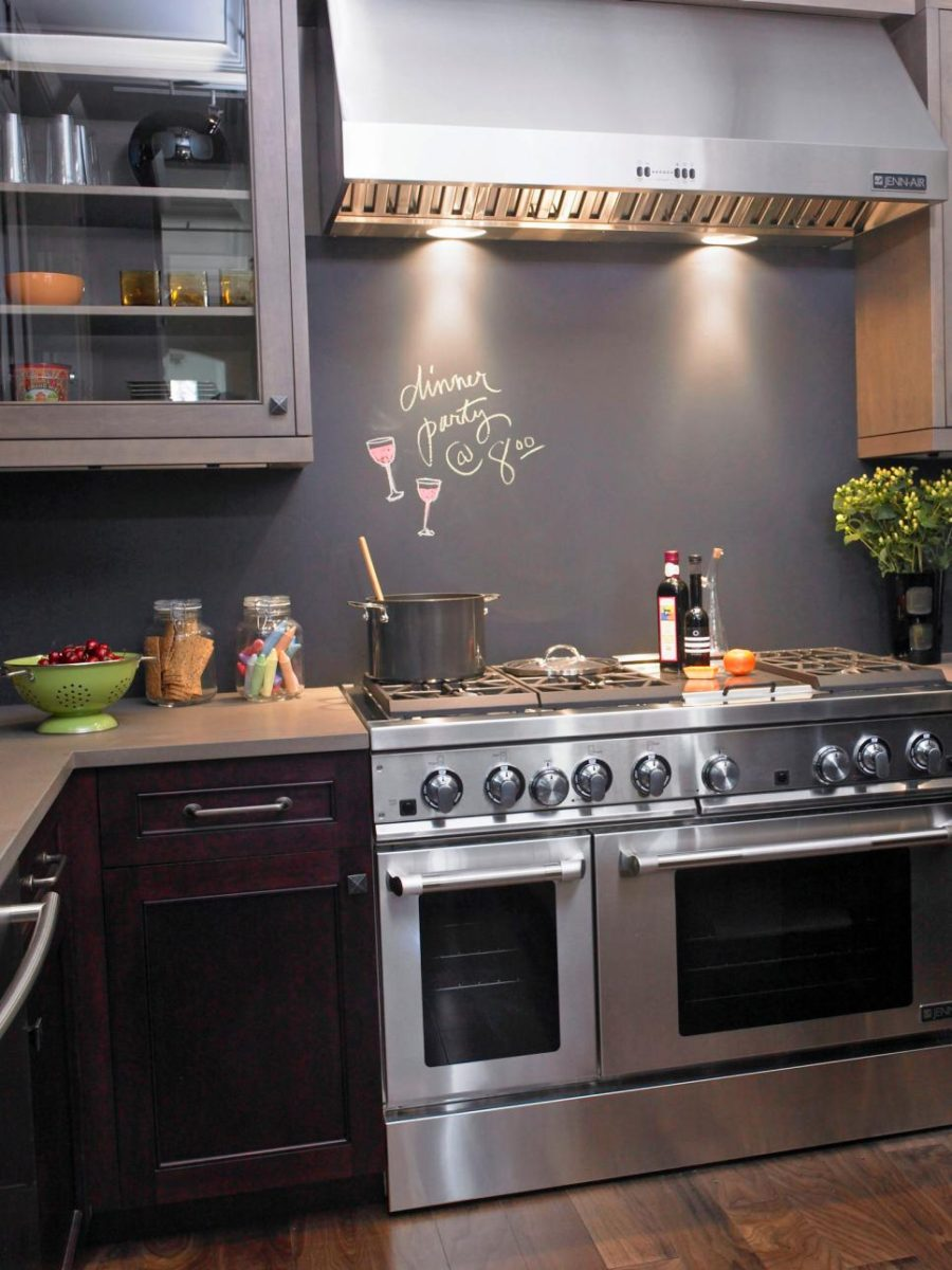 Chalkboard kitchen backsplash design by Susan Fredman