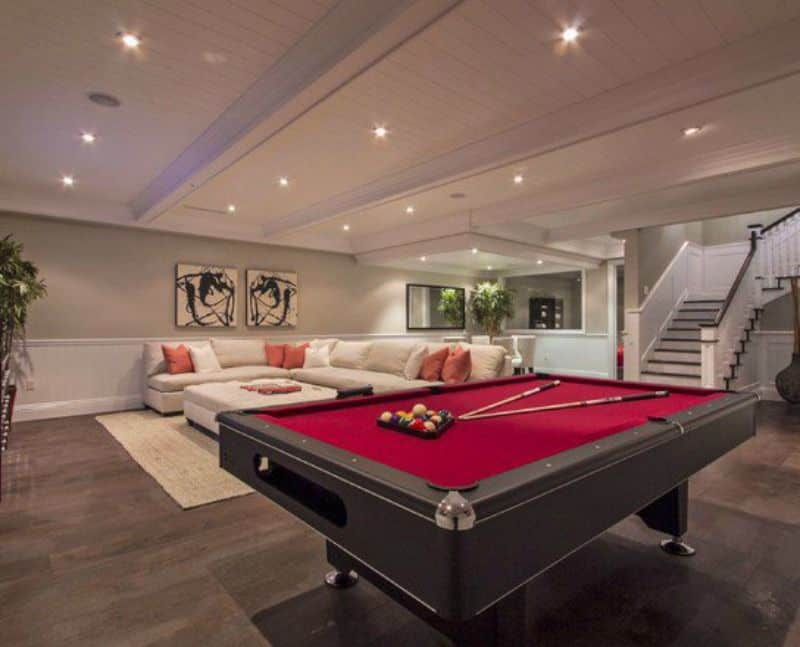 Contemporary basement design with a pool table