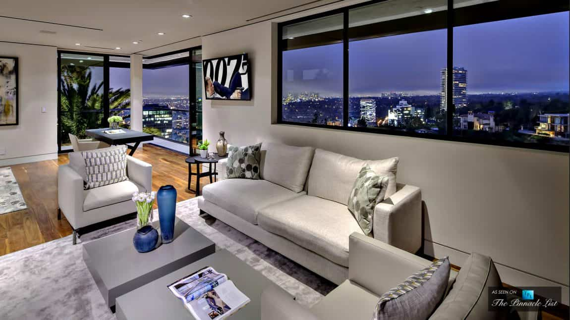 Contemporary seating area with views of the star-studded neighborhood