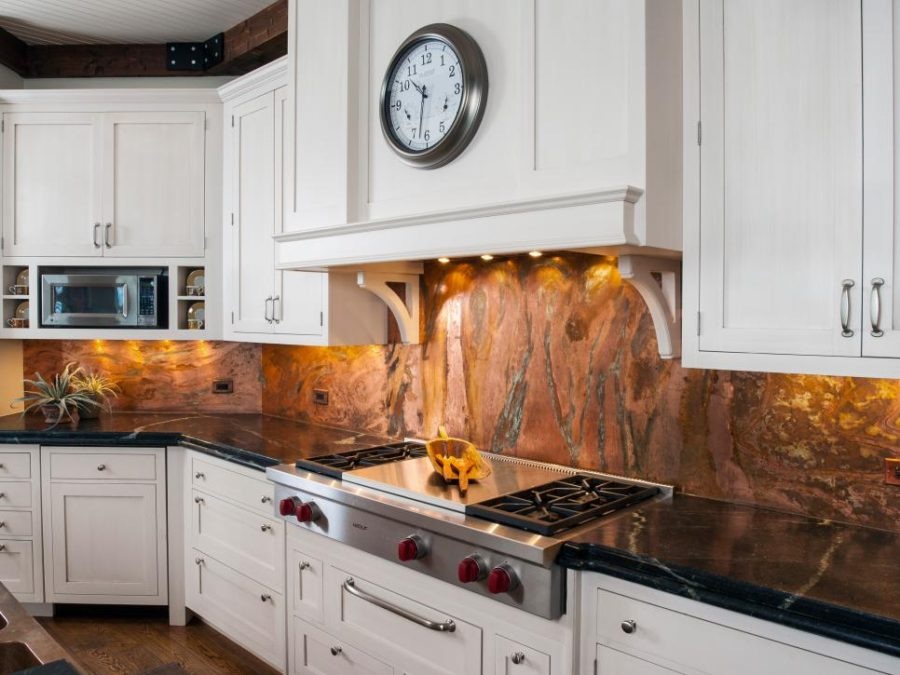 Copper marble backsplash by Orren Pickell Building Group