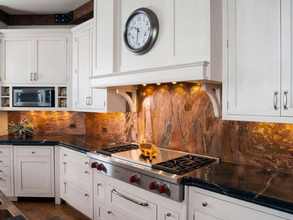 Copper marble backsplash by Orren Pickell Building Group