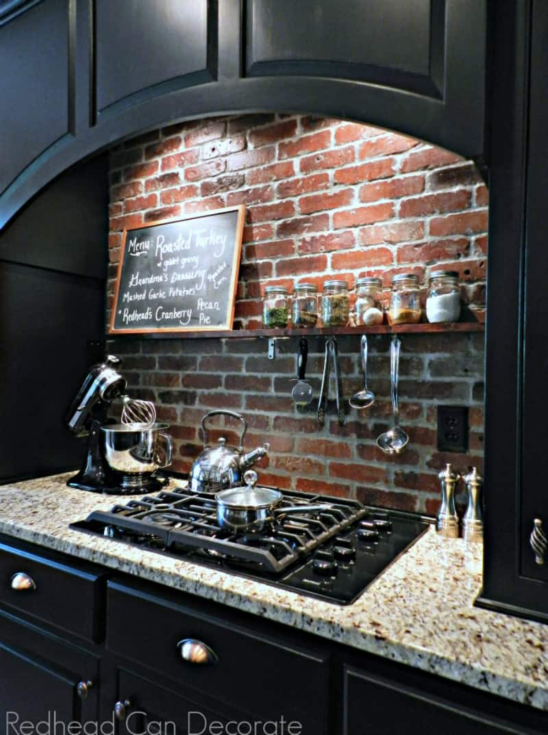 DIY Brick Backsplash from Redhead Can Decorate