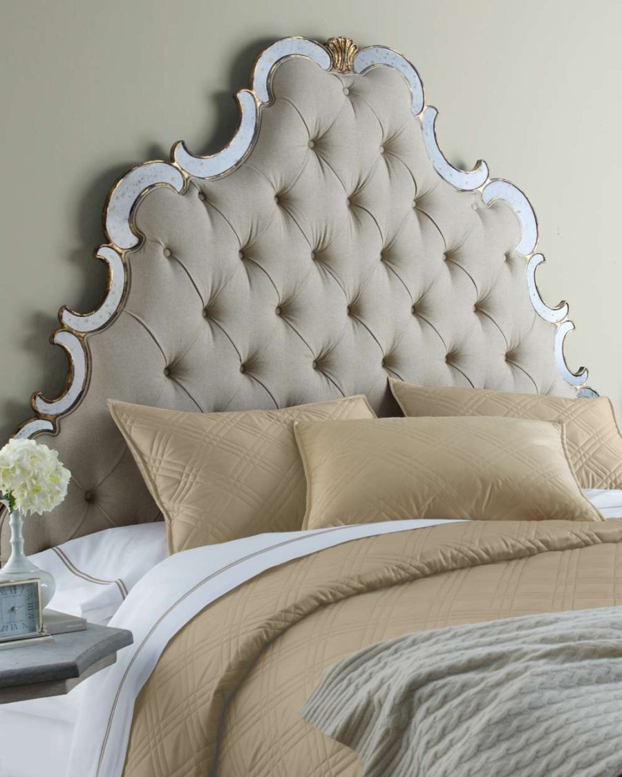 and cream of bed fabric upholstered simple minimal smooth linear with in double a headboard