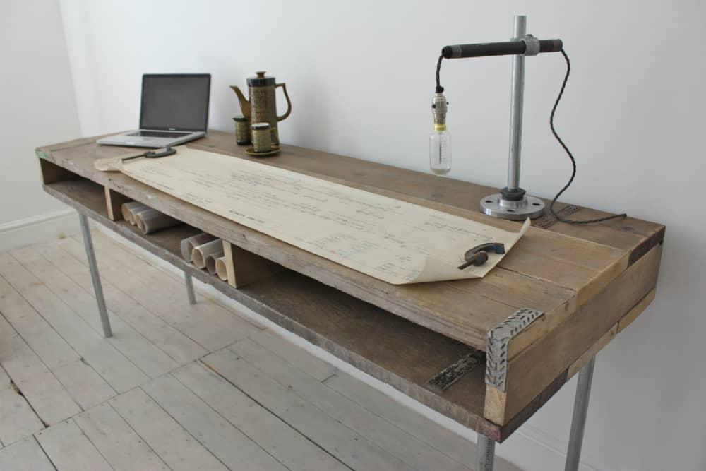 Ellie Reclaimed Scaffolding Board Urban Industrial Chic Long Desk with Built In Storage and Galvanised Steel Legs