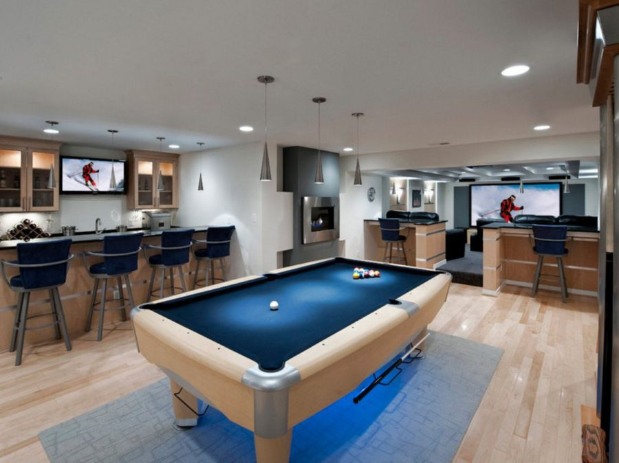 Entertainment basement with fireplace area
