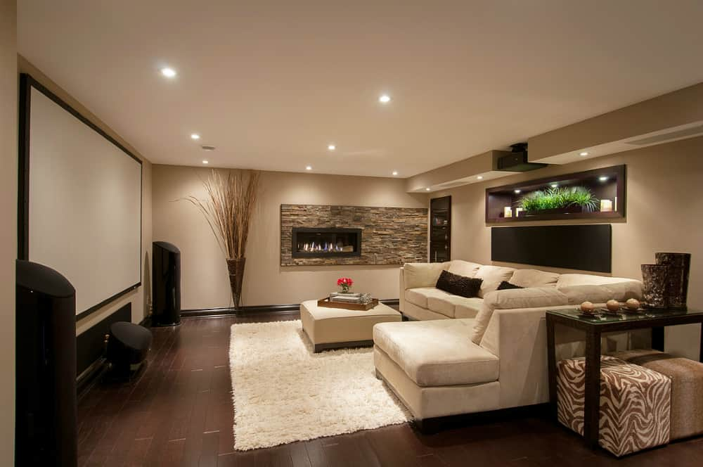 Family room in a Stittsville basement by Just Basements