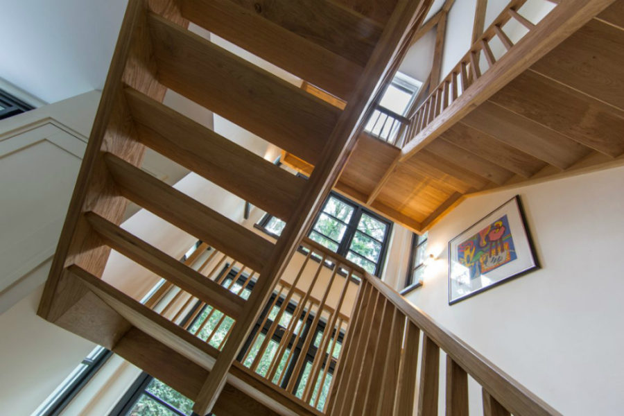Flights of stairs connecting levels of living space