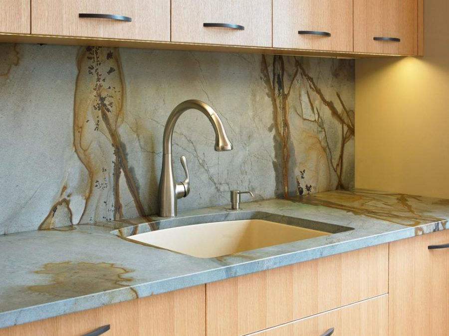 View In Gallery Granite Countertop And Backsplash By The Sky Is Limit Design