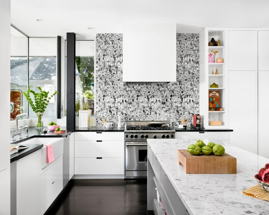 Graphic black and white backsplash by Hugh Jefferson Randolph Architects