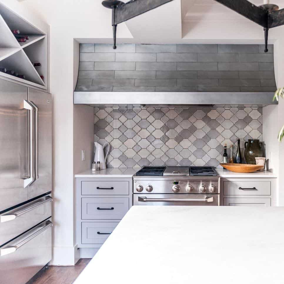 Gray metal look tile backsplash by Bill Moore & Emory Ratliff