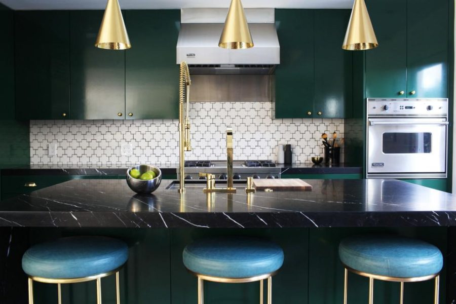 View In Gallery Green Kitchen With Swiss Cross Tile Backsplash By Caitlin  McCarthy Designs
