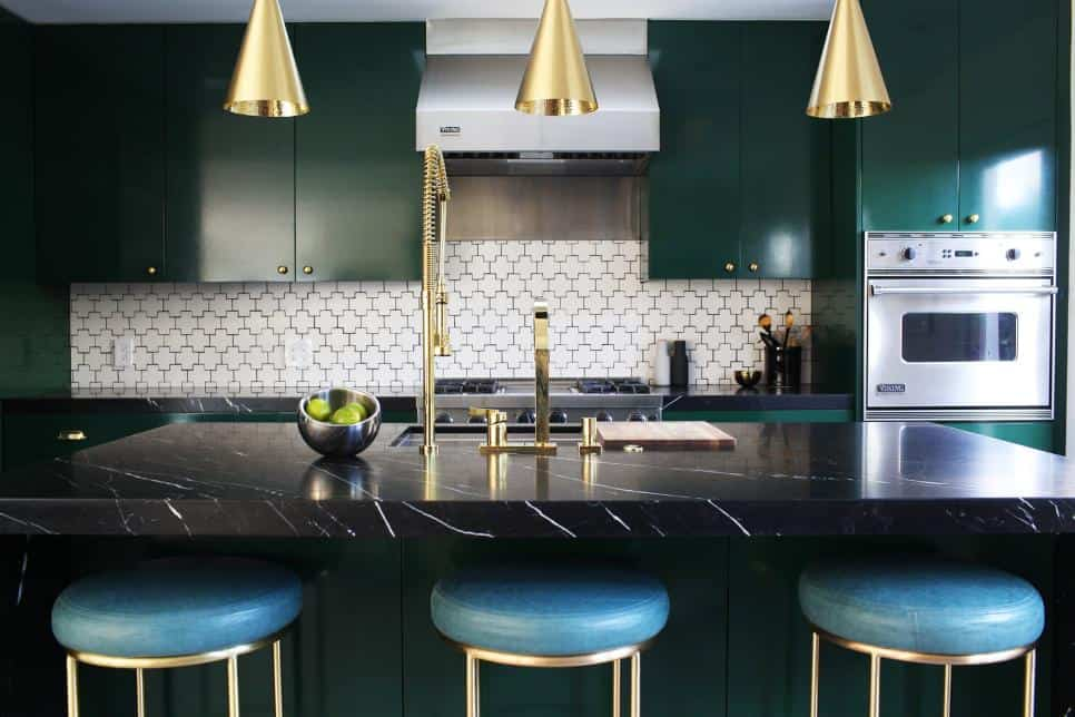 Green kitchen with Swiss cross-tile backsplash by  Caitlin McCarthy Designs