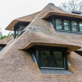 Impeccable roof detail 285x285 Striking Villa Naarden Is a Modernized Dutch Thatched House