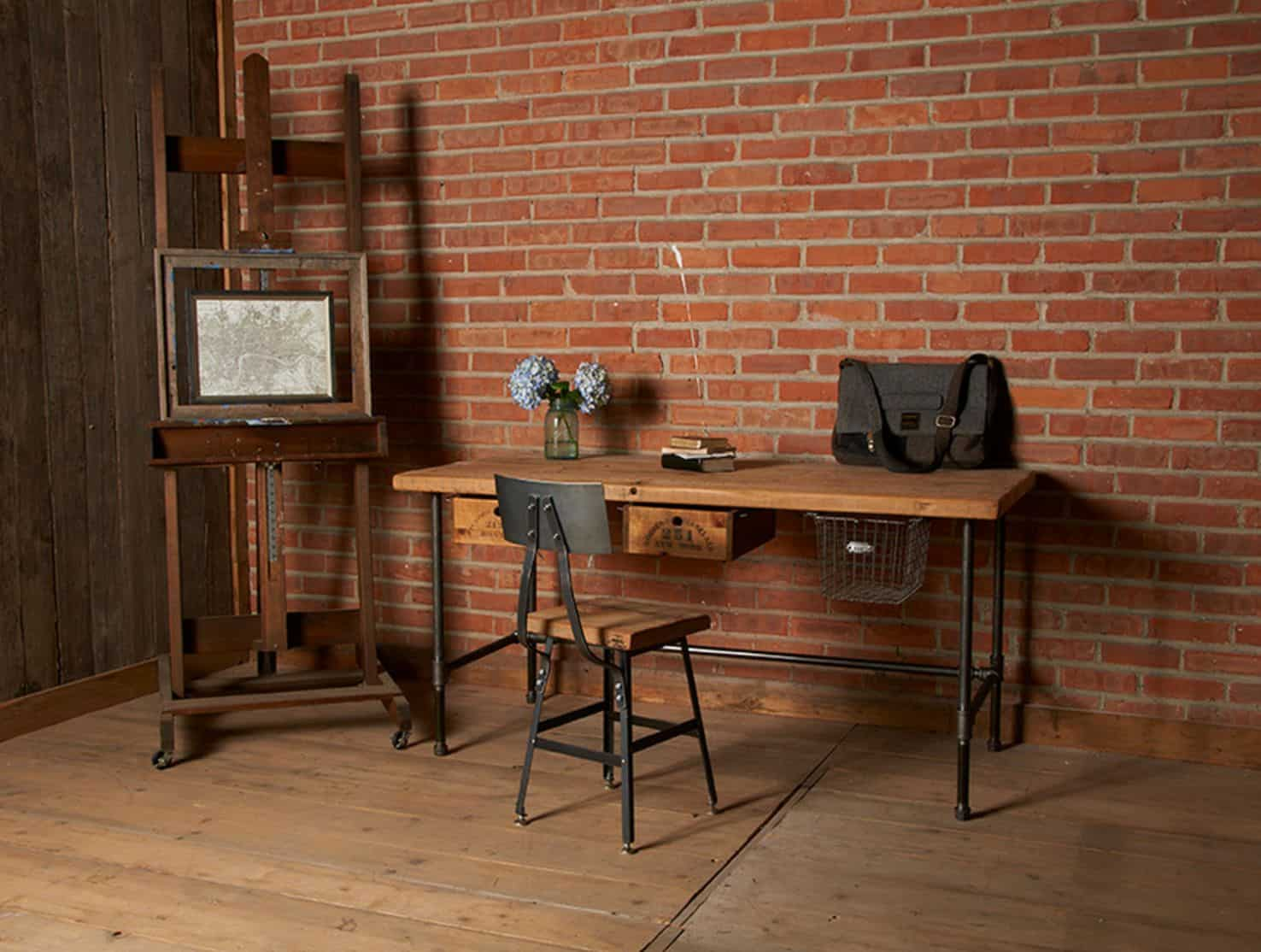 Industrial reclaimed wood desk with pipes legs