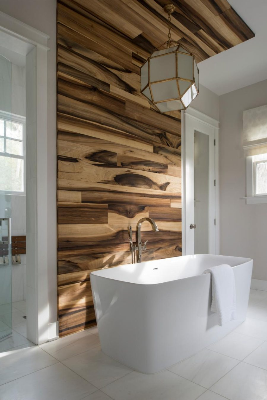 Wood look tile ideas for every room in your house for Bathroom accents