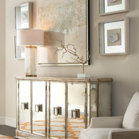 Juno Foxed Mirror Credenza 285x285 See Your Face in Every Surface with Mirrored Furniture