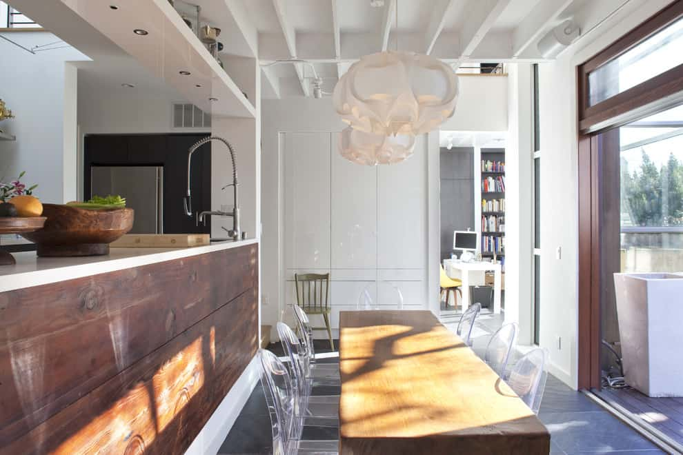 Kitchen and dining in rustic modern style
