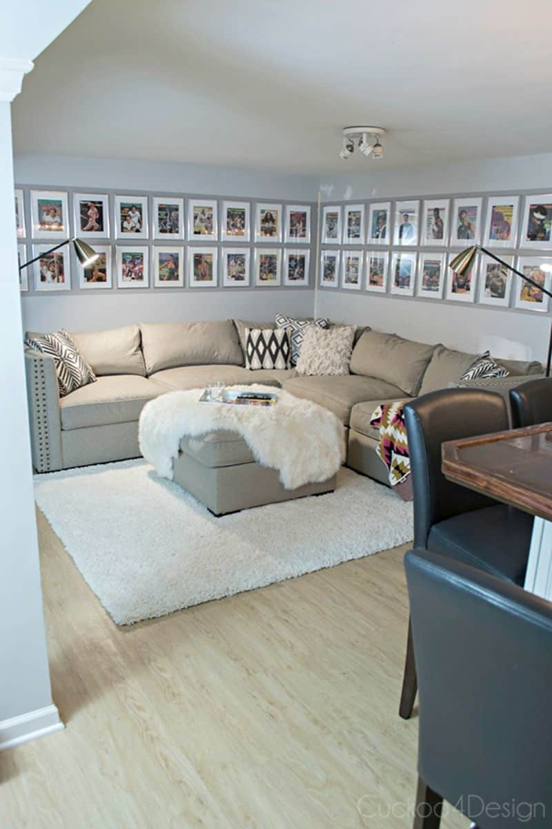 L shaped sofa and wall art around
