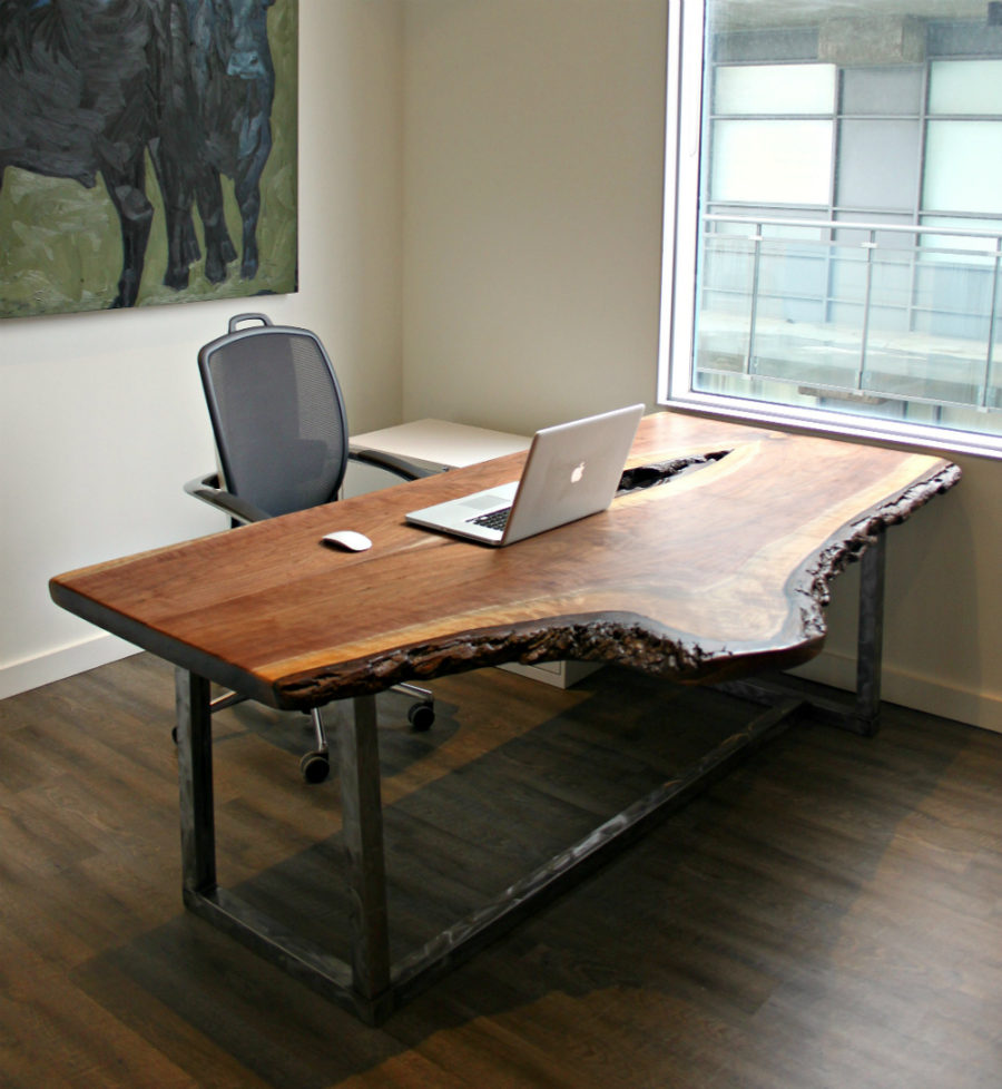 Make Your Office More Eco Friendly With a Reclaimed Wood Desk : LIVE EDGE WALNUT DESK WITH DISTRESSED STEEL BASE 900x978 from www.trendir.com size 900 x 978 jpeg 121kB