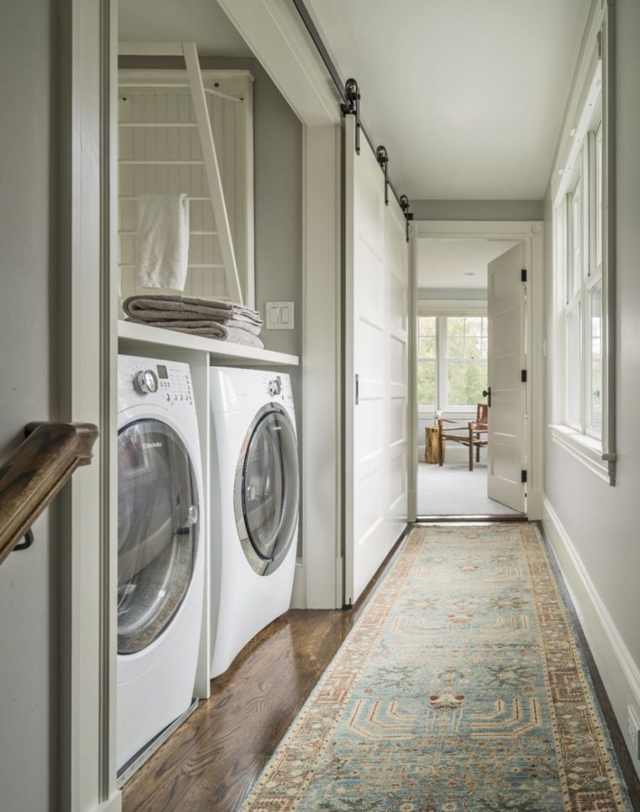 Laundry space barn door