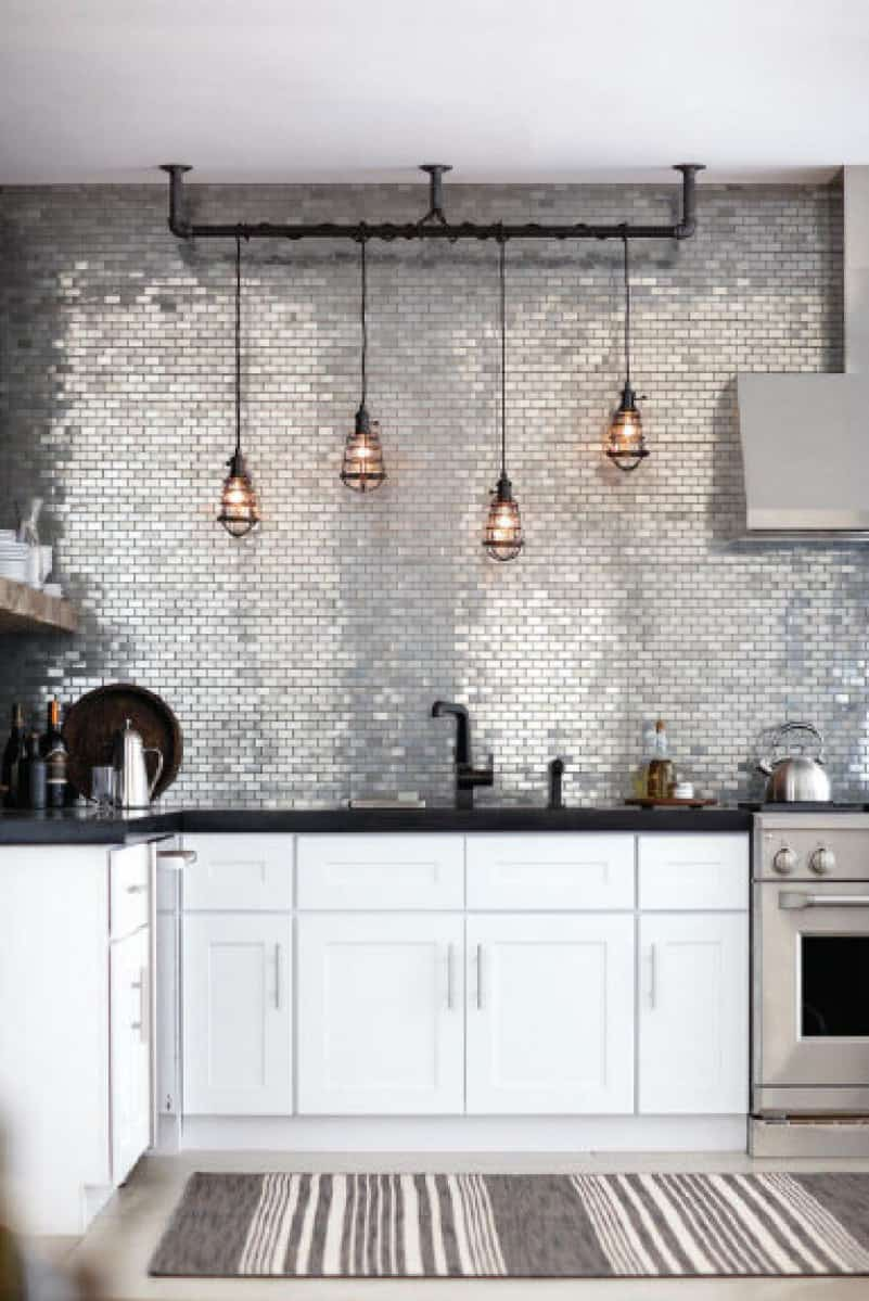 Metallic backsplash tiles
