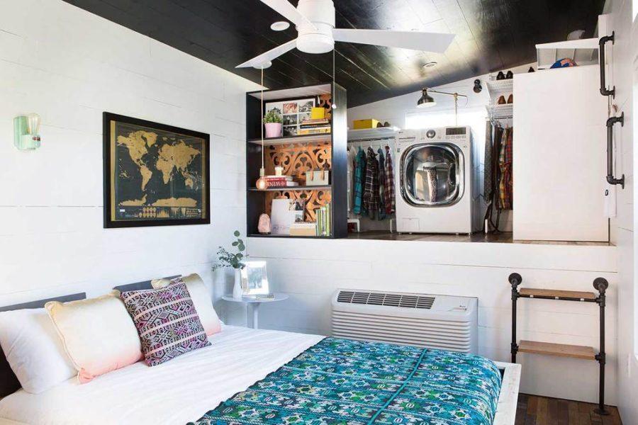 Mid-century Marfa tiny house bedroom, closet and laundry