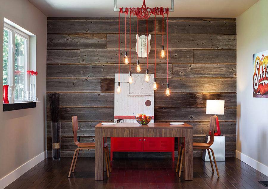Mid-century modern dining room with rustic decor elements