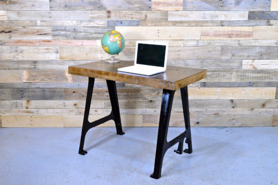Minimalist Reclaimed Wood Desk With Cast Iron Machine Legs