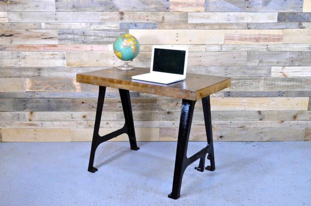 Minimalist Reclaimed Wood Desk With Cast Iron Machine Legs