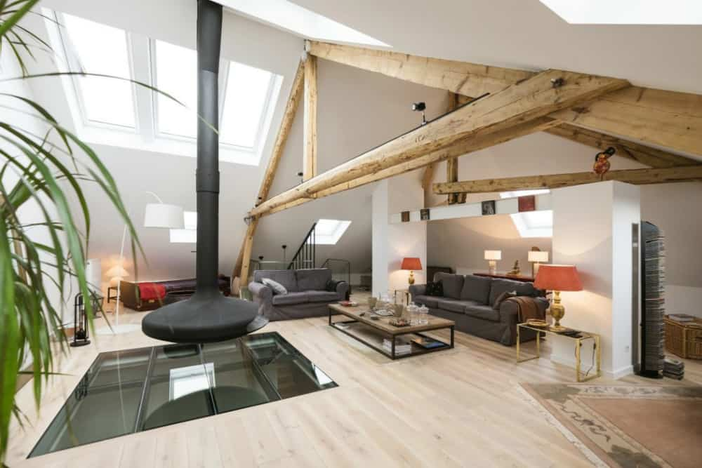 Modern and rustic loft