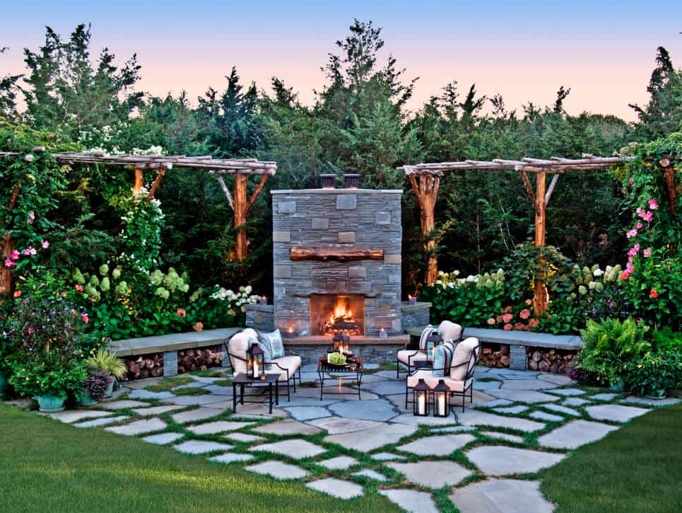 Patio with a fireplace