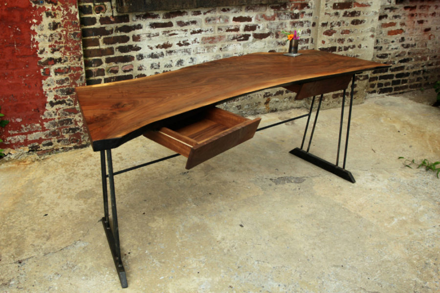 View In Gallery Reclaimed Walnut Wood Writing Desk With 2 Drawers