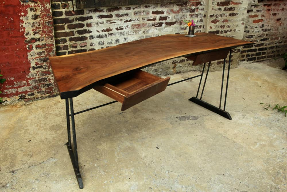 Reclaimed Walnut Wood Writing Desk with 2 Drawers